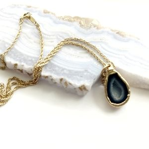 DRUZY Natural Agate Delicate Gold Chain Necklace